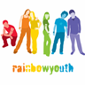 The logo for PARN's Rainbow Youth Program featuring an image of young people in rainbow colours.