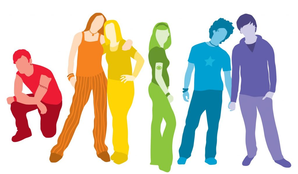 The logo for PARN's Rainbow Youth Program: young people in rainbow colours.