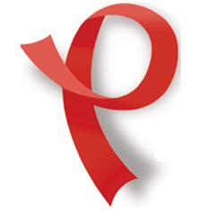 red ribbon shaped like a P