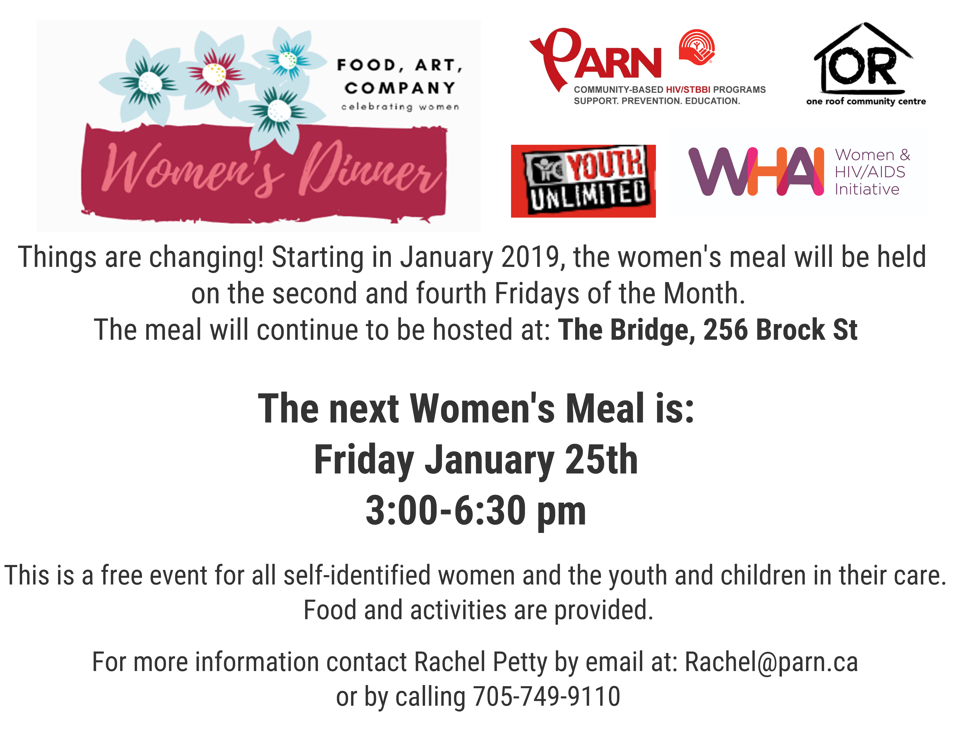 This image is a poster for a Women's Dinner happening at Fleming Park on Friday, January 25 from 3:00 pm to 6:30 pm. This is a free event for all self-identified women and the youth and children in their care. Food and activities are provided. For more information contact Brittany Cameron by email at brittany@parn.ca or by calling 705-749-9110.